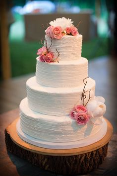 Love this cake design but with magenta flowers instead of coral