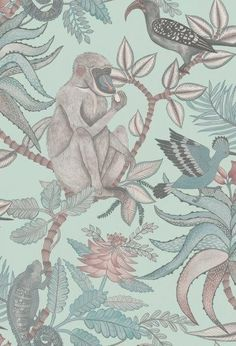 Savuti by Cole & Son - Stone Neutral - Wallpaper : Wallpaper Direct Cole And Son Wallpaper, Wallpaper Roll, Feature Wallpaper, Wallpaper Ideas, Neutral Wallpaper, Jungle Print, Wallpaper Online, Fabric Houses, Exotic Birds