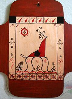 Роспись кухонной доски В мезенском стиле . - Ярмарка Мастеров - ручная работа, handmade
