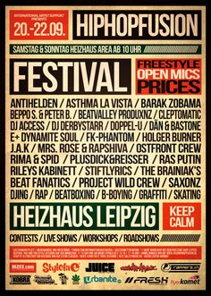 The Hip Hop Fusion Festival continues at Heizhaus Leipzig and Open Air, 21.-22.09.2013! https://www.facebook.com/HipHopFusion/events