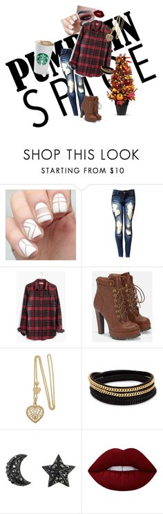 """""""coffee date"""" by cobrakai72 ❤ liked on Polyvore featuring Madewell, JustFab, Vita Fede, Lime Crime and Improvements"""