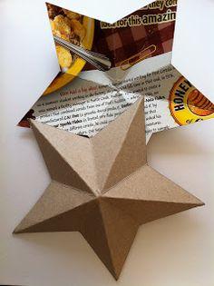 3-D Cardboard Star Template & Tutorial. For 4th of July, Christmas, etc.. Hmmmmmmm many applications|