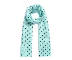 Women's Glossy Swallows Print Scarf in Mint