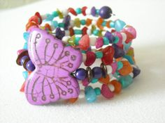 Purple Magnesite Butterfly with Mulitcolored by OctoberPetals, $19.75