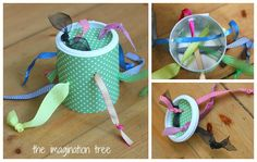 Tactile Ribbon Pull Toy:  Put holes into the sides and lid of the container and made sure there were corresponding holes at the same levels on each side. Thread ribbons and knot the ends securely.