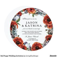 Shop Red Poppy Wedding Invitation created by LivingHueDesign. Formal Wedding Invitations, Beautiful Wedding Invitations, Poppy Red Wedding, Invitation Set, Red Poppies, Floral Flowers, Vintage Floral, Marriage, Nice