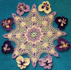 Hand Crocheted Doily.  Flowers. Multicolored Pansies