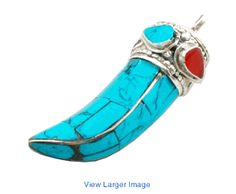 Turquoise sterling silver horn pendant handmade in Nepal.