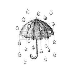 rainy: Umbrella Rain Dotwork. Raster Illustration of Parasol with Drops. Hipster Tattoo Hand Drawn Sketch.