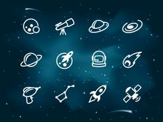 A set of space icons set atop a starry night background.