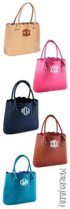 The perfect Mother's Day Gift! Monogrammed Scalloped Tote Purse from Marleylilly.com! More colors available. #preppy