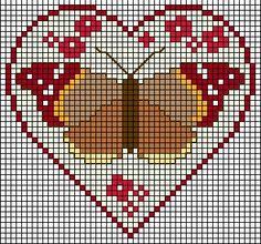 Heart, Coeur, Corazon, Cuore, Coração - LovingCrossStitch - Picasa Web Albums Butterfly Cross Stitch, Cross Stitch Heart, Cross Stitch Flowers, Modern Cross Stitch, Cross Stitch Designs, Cross Stitch Patterns, Loom Beading, Beading Patterns, Cross Stitching