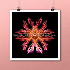 Phoenix Flame Flower Mandala Art Print by Jeff Dufour 12x12 Square Metaphysical #Abstract