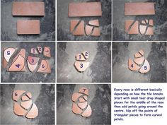 Here are some photos I've taken of the cutting process for making my mosaic roses.