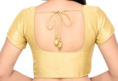 Readymade Designer Gold Color Brocade Silk Sari Blouse with Fabric Beaded Border Saree Blouse / Sari top/ Choli