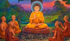 The first teaching of the Buddha, in which the Buddha taught the Four Noble Truths to his first five disciples at Sarnath, India.    The Four Noble Truths: 1.  Human life has a lot of suffering (dukkha).  2.  The cause of suffering is greed.  3.  There is an end to suffering.  4.  The way to end suffering is to        follow the Middle Path.