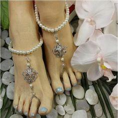 1340b9729148f5 ROYAL pearl barefoot sandals - silver. ROYAL pearl barefoot sandals  rhinestones
