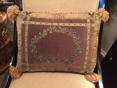 Gorgeous SWEET DREAMS Designer Rectangular Pillow With Metal Thread Embroidery  | eBay