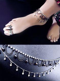 Crystal anklet gypsy anklet boho anklet by CindersJewelryDesign, $35.00