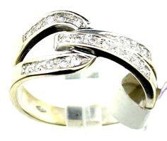 14K WG 0.22CT. Round Cut Diamond Anniversary Ring sz6.75 4,7g  B41 #Teufel