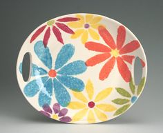 Flower Power Platter / Tray Colorful Hand by owlcreekceramics, $56.00