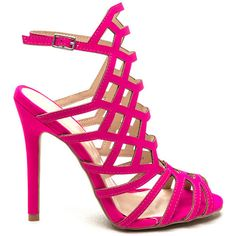Latticed 'N Laddered Strappy Heels HOTPINK ($27) ❤ liked on Polyvore featuring shoes, sandals, pink, pink stilettos, high heels stilettos, strappy high heel sandals, strappy heel sandals and pink shoes