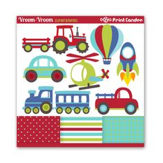 Vroom Vroom Transportation - BUY 2 GET 1 FREE - Digital Clip Art - Personal and Commercial Use - cars trucks helicopter tractor train. $4.75, via Etsy.