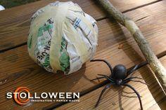 2008spiderproject-3 Creepy Halloween Props, Halloween Spider, Halloween Art, Holidays Halloween, Spider Decorations, Halloween Decorations, Crafts To Do, Projects To Try, Spiders