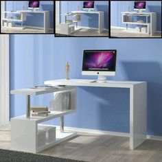 Miami Rotating Computer Desk In White High Gloss With Shelving Unit It can Be Positioned according to your Choice Finish: White High Gloss And Chrome Supports Features: Multifunctional Furniture, Smart Furniture, Home Furniture, Furniture Design, Furniture Risers, Home Office Design, Interior Design Living Room, Home Office Computer Desk, Bedroom Desk