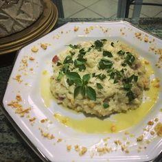 Receita de Risoto de gorgonzola com salaminho e espinafre.