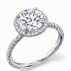 gorgeous engagement ring-- round stone with diamond halo