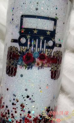 Jeep Tumbler, Red, White and Blue Diy Tumblers, Custom Tumblers, Glitter Cups, White Glitter, Red Jeep, Glitter Photo, Cup Art, Custom Cups, Tumbler Designs