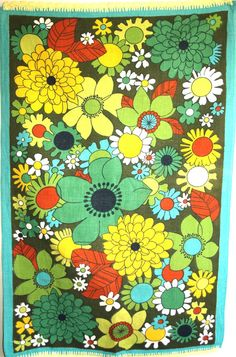 12 love it!!Retro vintage flower power tea towel.  This funky retro tea towel is possibly pure linen or a linen cotton blend. There are no holes or stains but