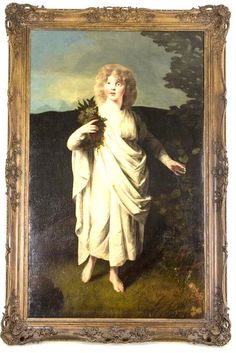 Antique Oil Portrait | Oil on Canvas | Young Girl White Draping | England |B639