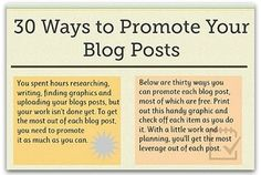 If you're blogging, why not try some of these promotion techniques to get your content read?