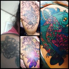 Tattoos on pinterest koi fish tattoo koi and cover up for Koi fish cover up