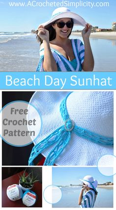 Free Crochet Pattern - Beach Day Sunhat by A Crocheted Simplicity, pattern #4 in the #CelebrateMomCAL
