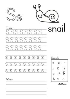 Alphabet Printable S for Snail FREE! • KraftiMama English Grammar Worksheets, Camping Games, Afrikaans, Grade 1, Snail, Angels, Printable, Math, Words