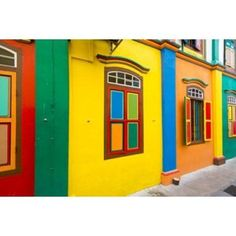 Restored building in Little India Singapore Canvas Art - Panoramic Images (36 x 24)