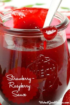 Strawberry-Raspberry Sauce (best ever)  Thick, bright ruby-red and bursting with fresh berry flavor!!