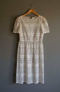 Vintage SHEER LACE Overlay Sweet Dress sm by heightofvintage,