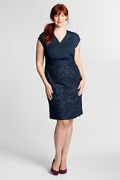 Women's Plus Size Woven Sequined V-neck Dress