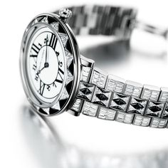 The white gold strap of the RL888 Deco Diamond is set with a total of 17.31cts baguette and brilliant-cut diamonds (POA). Discover more of Ralph Lauren's limited edition diamond watches: http://www.thejewelleryeditor.com/watches/ralph-lauren-glamour-on-ice-high-jewellery-diamond-deco-watches/ #jewelry #glamour