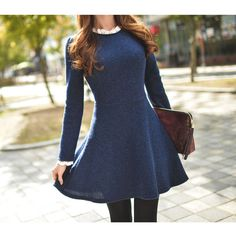 Frill Collar Knit Dress ($26) ❤ liked on Polyvore featuring dresses, collar dress, blue vintage dress, vintage ruffle dress, vintage knit dress and blue oxford