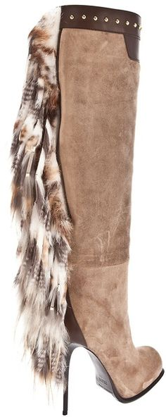 Gianmarco Lorenzi Long Boot with Fur Tassel in Brown (nude & neutrals) | Lyst | @ The House of Beccaria ~