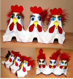 Chickens made out of a recycled empty egg carton! Such a fun craft for kids to do using feathers and googly eyes! #DIY #Art Project #Farm theme: