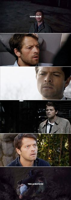 """When I watched this episode with my mum, she said """"Oh look, he's waiting for him to come back,"""" when Dean looked up, and I swear to God I was about to start sobbing. Dean Winchester, Dean And Castiel, Winchester Brothers, Misha Collins, Supernatural Destiel, Two Brothers, Super Natural, Superwholock, Love Story"""