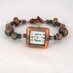 Teal Copper Beaded Watch Bracelet Foil Glass. $25.00, via Etsy.