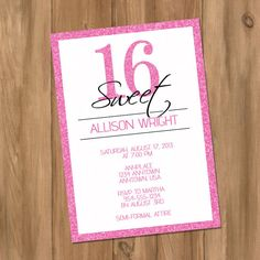Glitter Sweet Sixteen Birthday Party Invitation 16 by DigiPrintz, $10.00