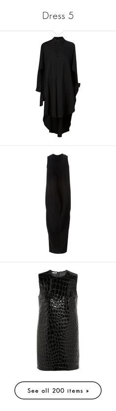 """""""Dress 5"""" by yihansong ❤ liked on Polyvore featuring dresses, cape, black, shirt dress, yohji yamamoto dress, long shirt dress, wool shirt dress, wool dress, rick owens and no sleeve dress"""